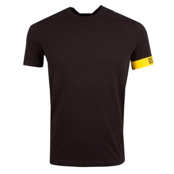 Dsquared2 Mens Black Logo Tape Sleeve T Shirt