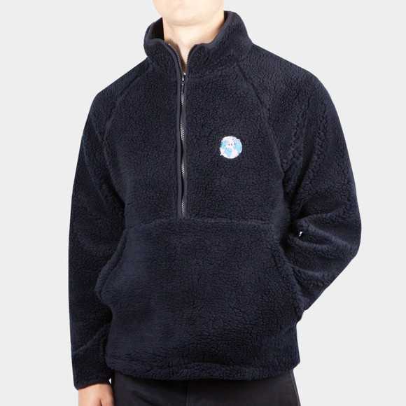 Edmmond Studios Mens Blue Half Zip Fleece Pullover