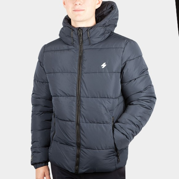 Superdry Mens Blue Hooded Sports Puffer Jacket