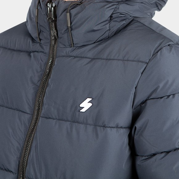 Superdry Mens Blue Hooded Sports Puffer Jacket main image