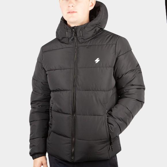 Superdry Mens Black Hooded Sports Puffer Jacket