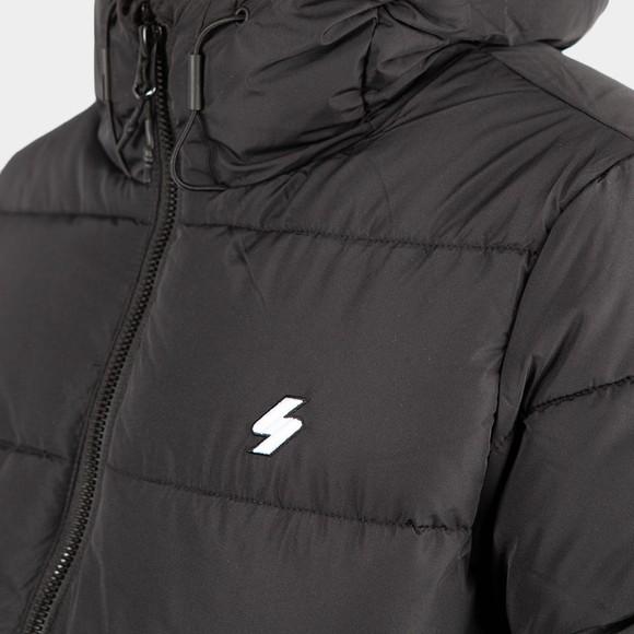 Superdry Mens Black Hooded Sports Puffer Jacket main image