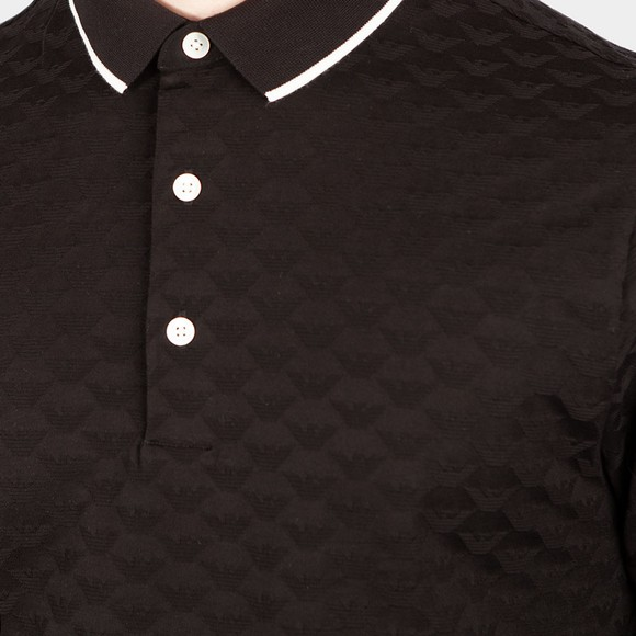 Emporio Armani Mens Black Allover Pattern Polo Shirt main image