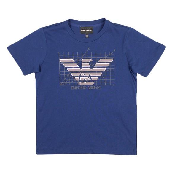 Emporio Armani Boys Blue Metallic Logo T-Shirt main image