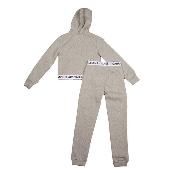 Calvin Klein Jeans Girls Grey Logo Tape Zip Through Tracksuit