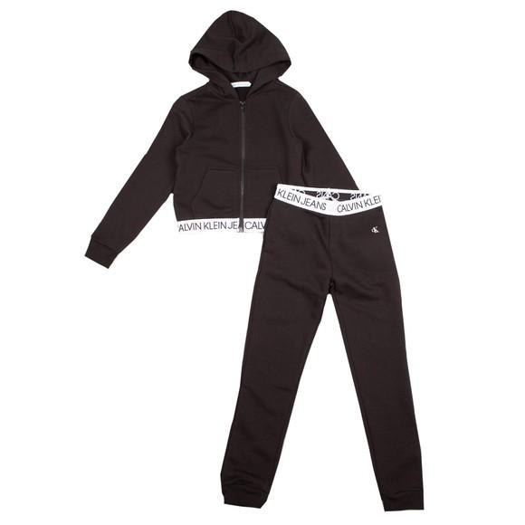 Calvin Klein Jeans Girls Black Logo Tape Zip Through Tracksuit