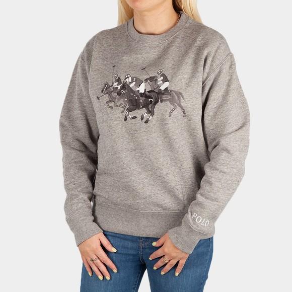 Polo Ralph Lauren Womens Grey Polo Match Heathered Fleece Sweatshirt