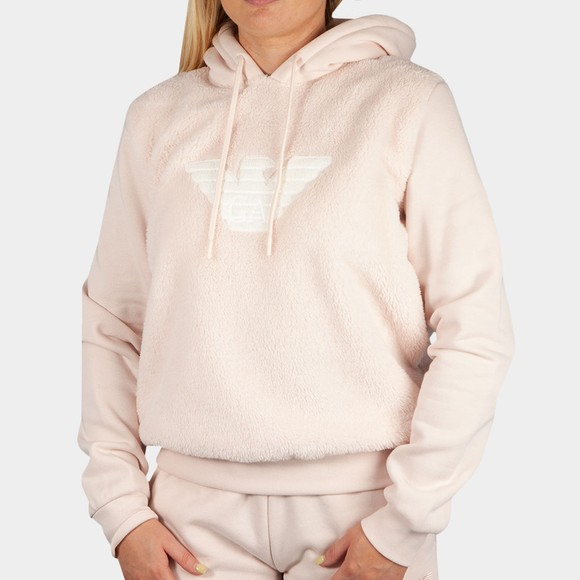 Emporio Armani Womens Pink Mixed Fabric Fleece Hoody