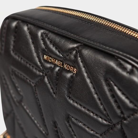 Michael Kors Womens Black Stitched Logo Jet Set Bag