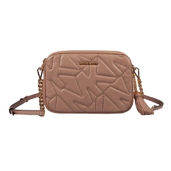 Michael Kors Womens Beige Stitched Logo Jet Set Bag