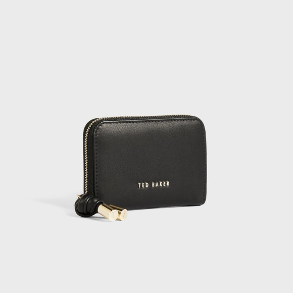 Ted Baker Womens Black Moolah Knotted Leather Zip Around Mini Purse