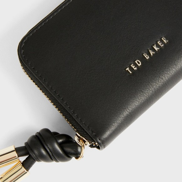 Ted Baker Womens Black Moolah Knotted Leather Zip Around Mini Purse main image