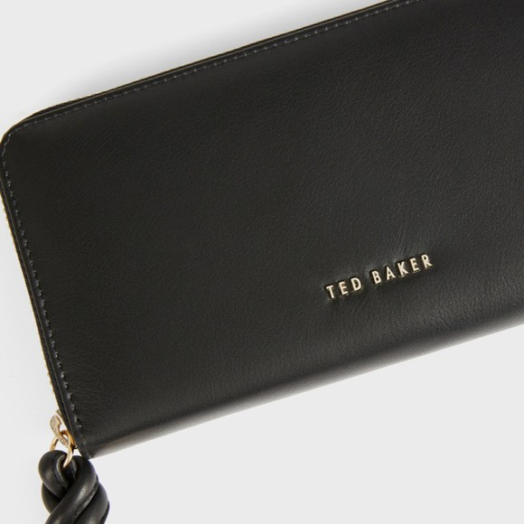 Ted Baker Womens Black Myyleu Knotted Leather Zip Around Matinee Purse main image