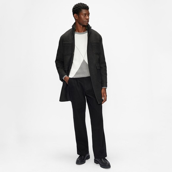 Ted Baker Mens Grey Funnel Neck  Coat With Pockets main image