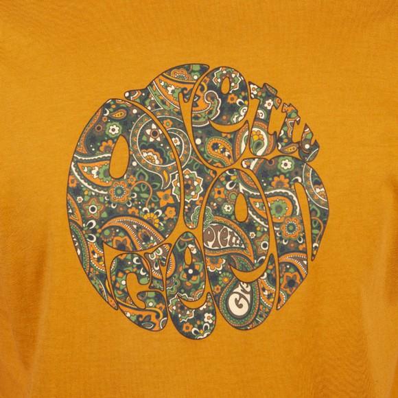 Pretty Green Mens Brown Paisley Print Logo T-Shirt main image