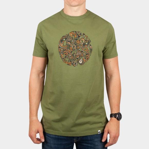 Pretty Green Mens Green Paisley Print Logo T-Shirt main image