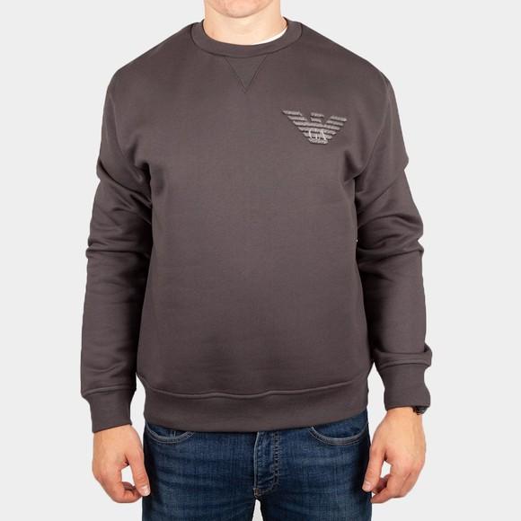 Emporio Armani Mens Grey Embroidered Eagle Sweatshirt