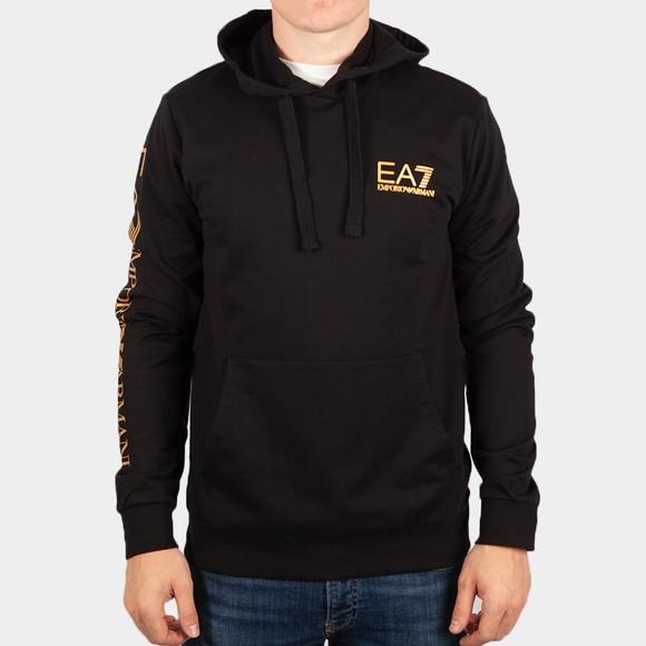 EA7 Emporio Armani Mens Black Taped Arm Hoodie