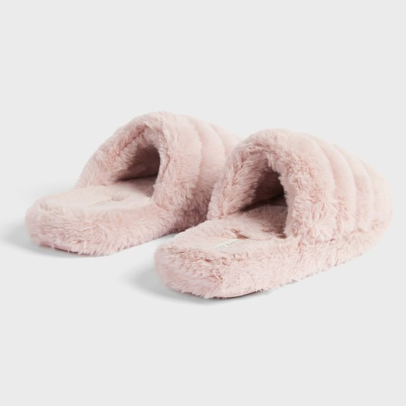 Ted Baker Womens Pink Lopsey Faux Fur Mule Slipper main image