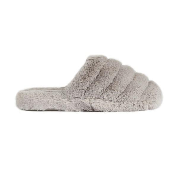 Ted Baker Womens Grey Lopsey Faux Fur Mule Slipper