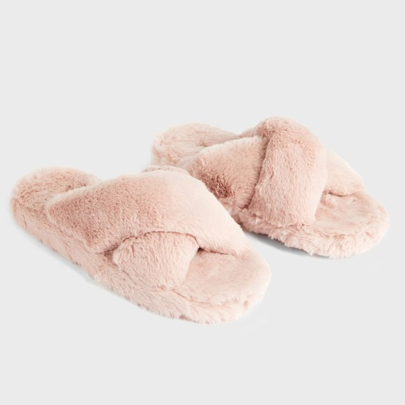 Ted Baker Womens Pink Lopply Faux Fur Cross Over Slipper main image