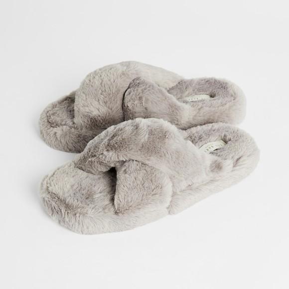 Ted Baker Womens Grey Lopply Faux Fur Cross Over Slipper main image