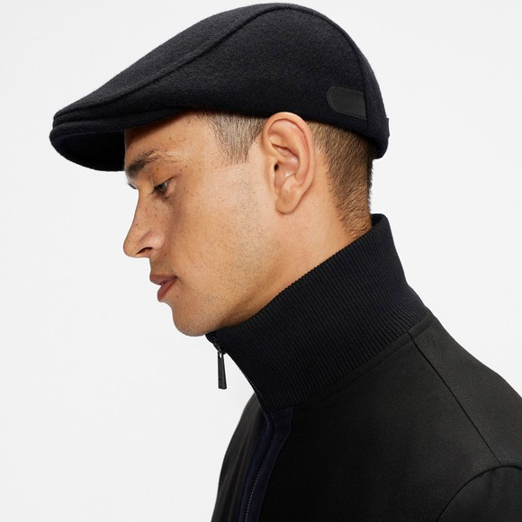 Ted Baker Mens Black Wool Flat Cap