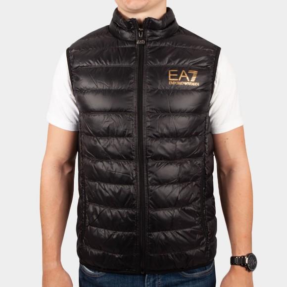 EA7 Emporio Armani Mens Black Small Logo Down Gilet