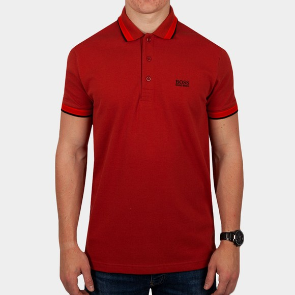 BOSS Mens Red Athleisure Paddy Polo Shirt