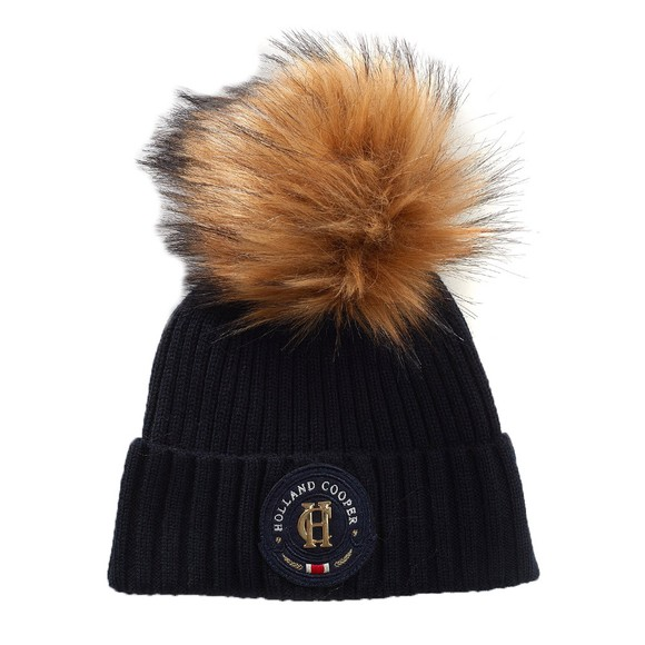 Holland Cooper Womens Blue Equi Knit Bobble Hat