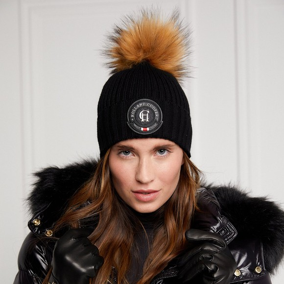Holland Cooper Womens Black Equi Knit Bobble Hat main image