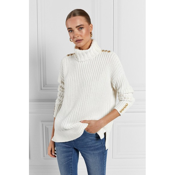 Holland Cooper Womens Off-White Hoxton Chunky Knit