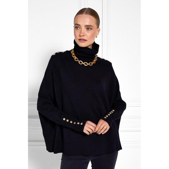Holland Cooper Womens Black Kingsbury Cape Knit
