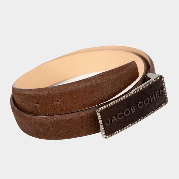 Jacob Cohen Mens Brown Plaque Horse Hair Belt