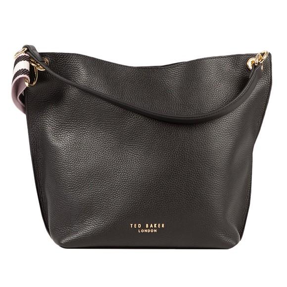 Ted Baker Womens Black Amada Branded Webbing Strap Hobo Bag