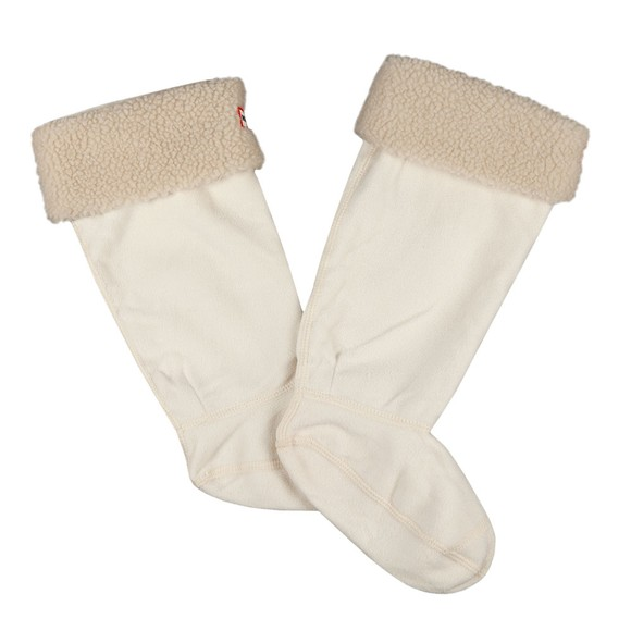 Hunter Womens Off-White Sheepy Fleece Cuff Tall Boot Socks