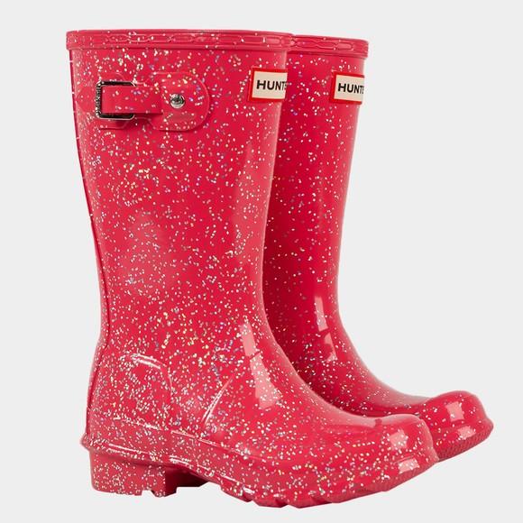 Hunter Girls Pink Giant Glitter Wellington Boot