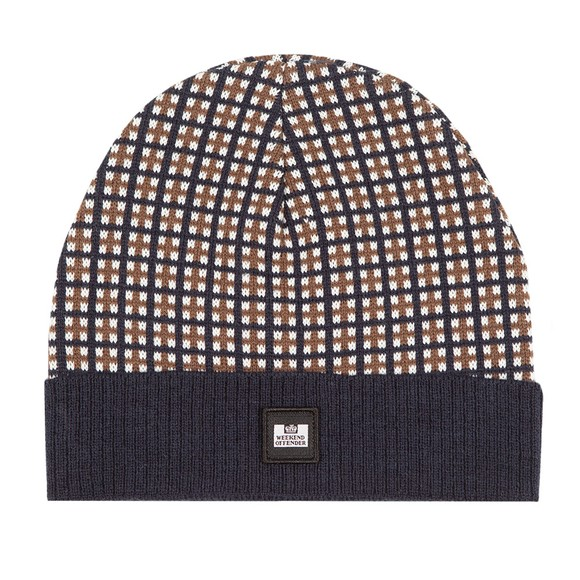 Weekend Offender Mens Blue Checkie Knitted Hat
