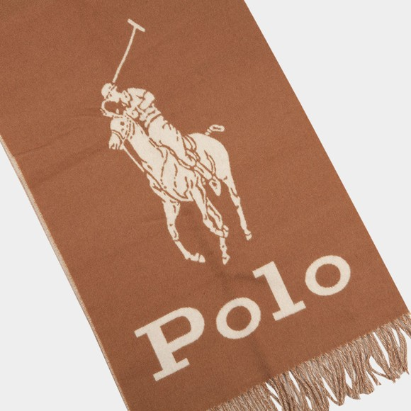 Polo Ralph Lauren Mens Brown Large Logo Oblong Scarf