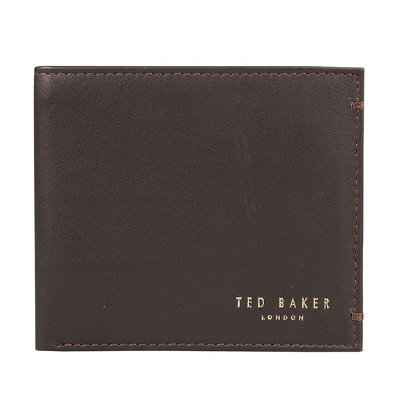 Ted Baker Mens Brown Core Bi-fold Coin Leather Wallet