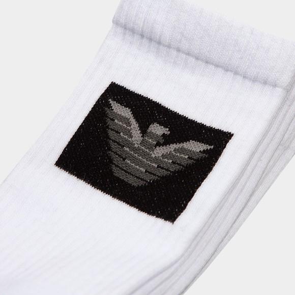 Emporio Armani Mens White 3 Pack Box Logo Sock
