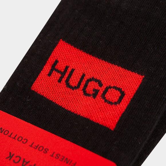 HUGO Mens Black 2 Pack Square Badge Sock