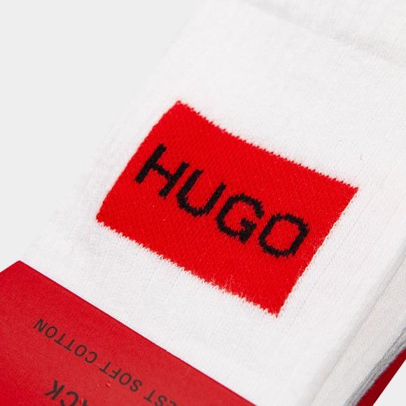 HUGO Mens White 2 Pack Square Badge Sock