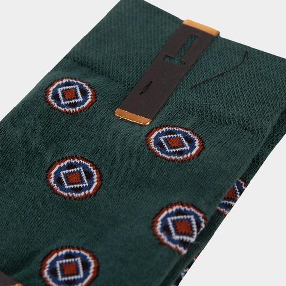 Ted Baker Mens Green Geometric Pattern Sock