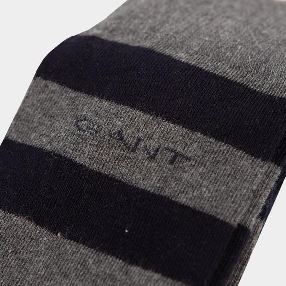 Gant Mens Grey Barstripe and Solid Sock 2 Pack