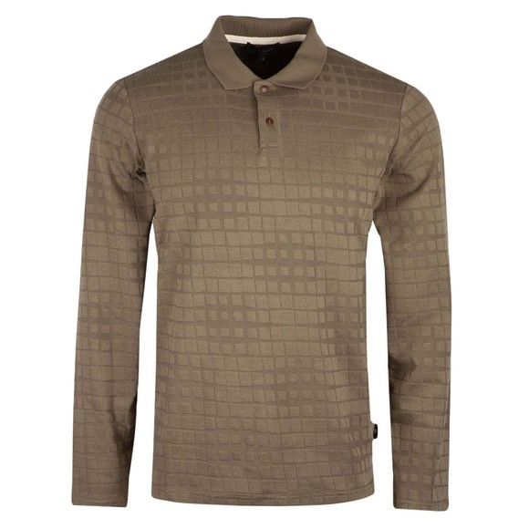 Ted Baker Mens Green L/S Textured Polo Shirt