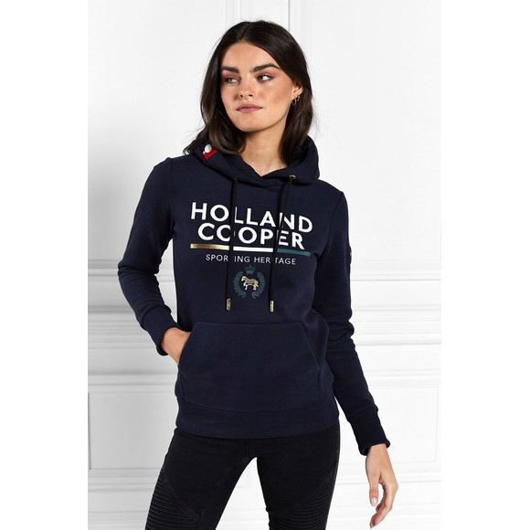 Holland Cooper Womens Blue Tri Colour Crest Hoody
