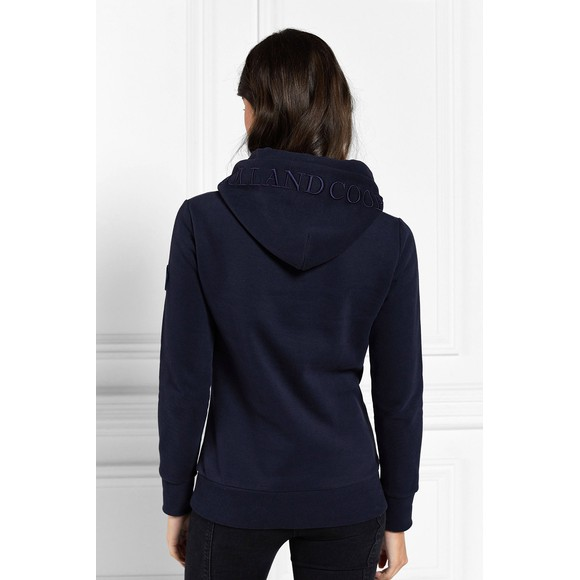 Holland Cooper Womens Blue Tri Colour Crest Hoody main image