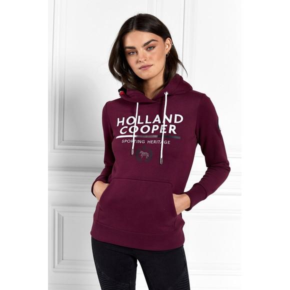 Holland Cooper Womens Purple Tri Colour Crest Hoody main image