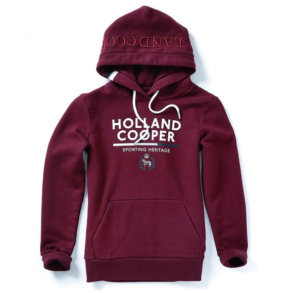 Holland Cooper Womens Purple Tri Colour Crest Hoody